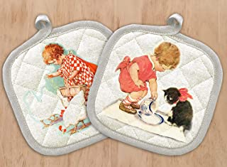 FlonzGift Pot Holders Set of Two with Vintage Prints Baby Girl Feeding Chicken and Cat