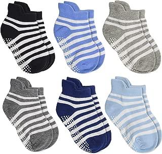 Aminson Anti Slip Non Skid Ankle Socks With Grips for Baby Toddler Kids Boys Girls