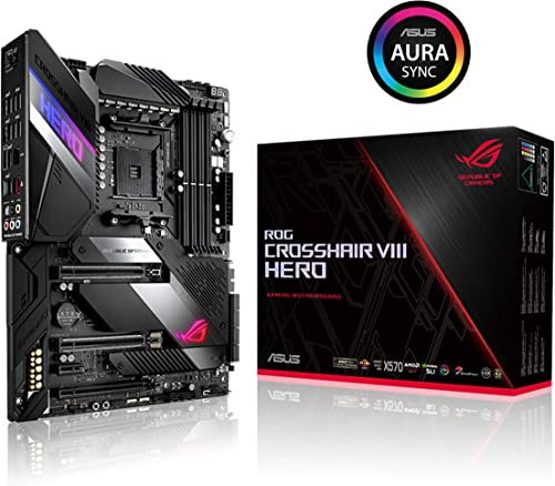 wholesale ASUS ROG Crosshair VIII Hero X570 ATX Motherboard with PCIe 4.0, Integrated 2.5 Gbps LAN, popular USB 3.2, SATA, M.2, Node and Aura Sync popular RGB Lighting online