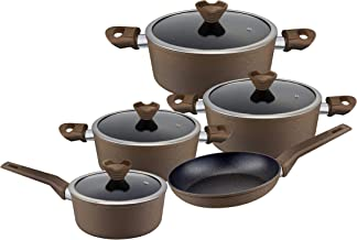 Royalford Frost coated 9 PCs Forged Aluminium Cookware set with durable granite coating Scratch Resistant, Tempered Glass Lids, 2.5MM Body Thickness, Bakelite Knobs, and CD Bottom