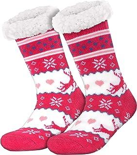 Compagno, calcetines amorosos con ABS suela antideslizante calcetines de invierno mujer hombre calcetines 1 par talla única, Color:Rentier 1 Pink