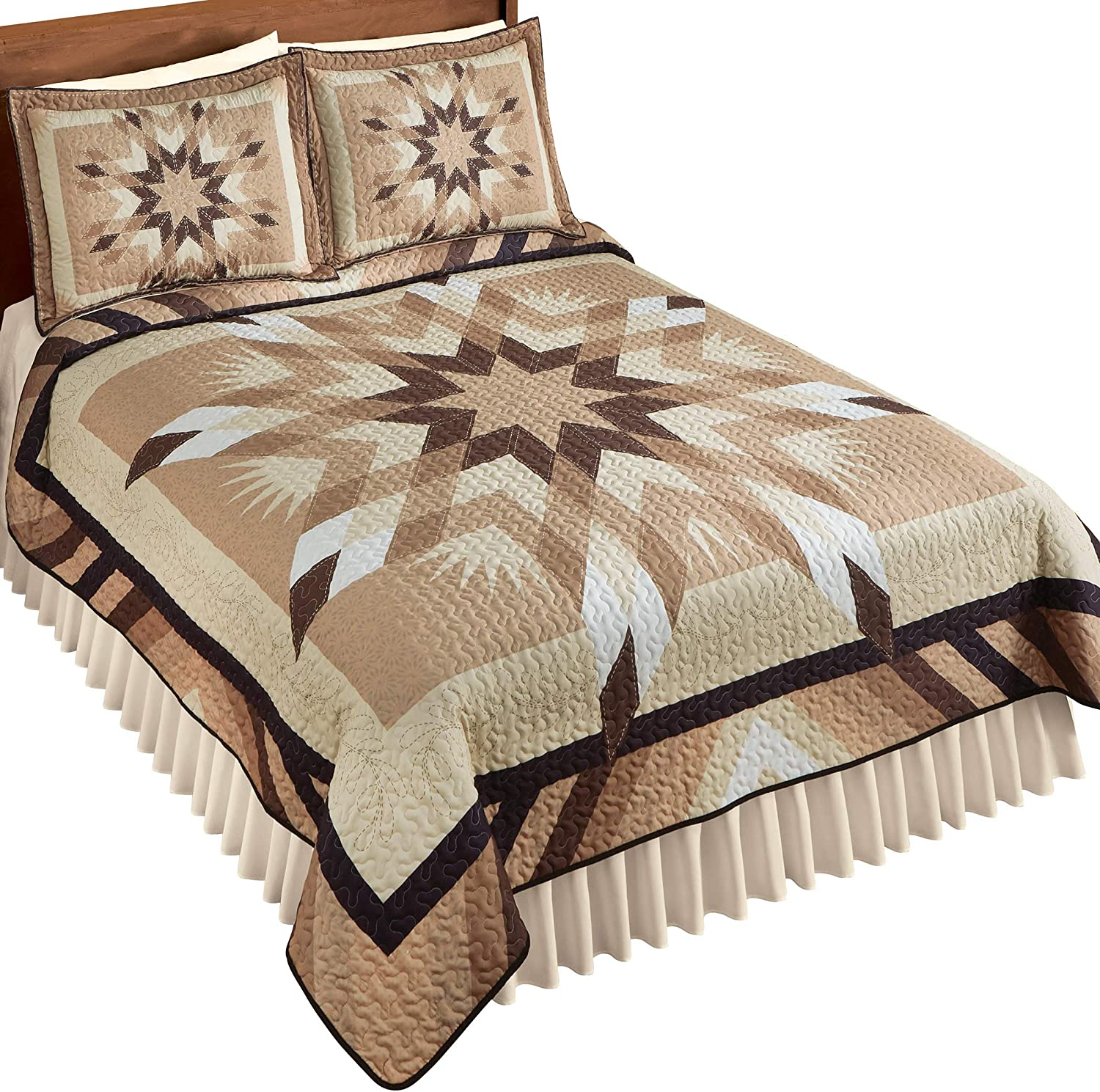 White Brown Tulsa Mall Taupe Max 40% OFF Patterned Fabric Neutral Quilt Star