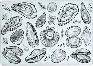 Tempered Glass Cutting Board Shellfish seafood vector hand drawn set Different kinds of eatable Tableware Kitchen Decorati...