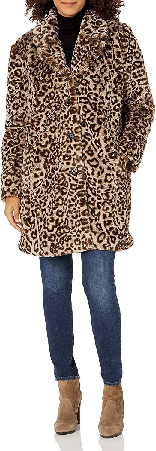 cupcakes and cashmere Women's Tinsley Leopard Faux Fur Coat