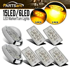 Partsam Replacement for Volvo/Freightliner Century/Columbia Led Lights Kit Clear, 5X Rectangle Amber LED Cab Roof Top Marker Lights+2X 5-7/8