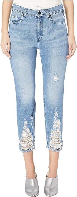 Distressed Trim Boyfriend Jeans in Indigo