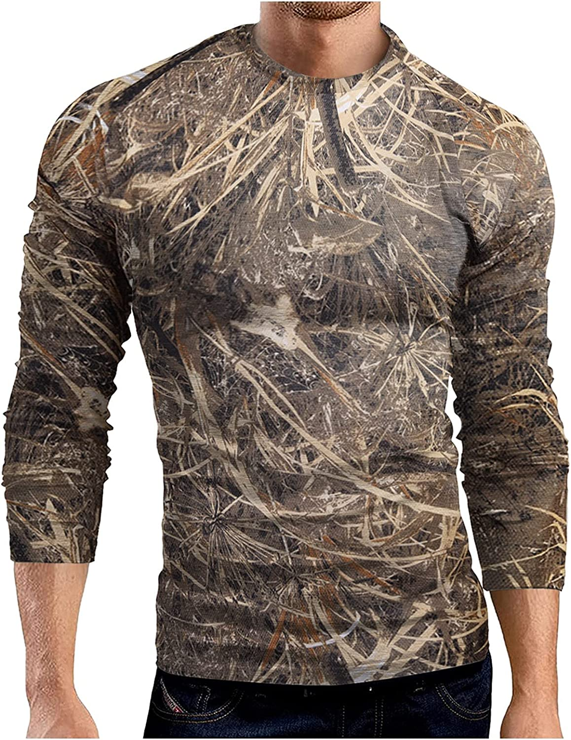 Mens Camouflage Tee Crew Neck Shirt Long Sleeve Lightweight Vintage Camo Athletic Quick Dry Outdoor Field Top Blouse