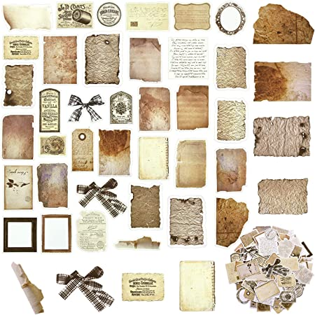108 Papiers de Scrapbooking Vintage Autocollants de Bricolage Papier de Découpage Classique Vieux Papier Parchemin Vieilli Embellissements de Journal pour Scrapbook Album Emballage Journal