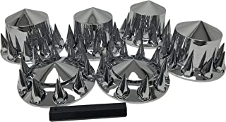 Wheel Cover Kit Chrome Front & Rear Complete 33mm Spiked Lug Covers Semi Truck
