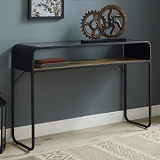 WE Furniture AZF46CURETRO Entryway Curved Metal Frame Rectangle Accent Coffee Table Living Room Ottoman Storage Shelf, Reclaimed Barnwood