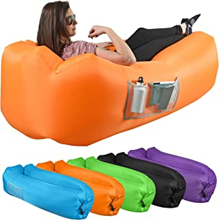KOR Outdoors Inflatable Air Lounger/Sofa - Heavy Duty Nylon Fabric - No-Pump Camping, Beach, Outdoor Lounge Couch with Hea...
