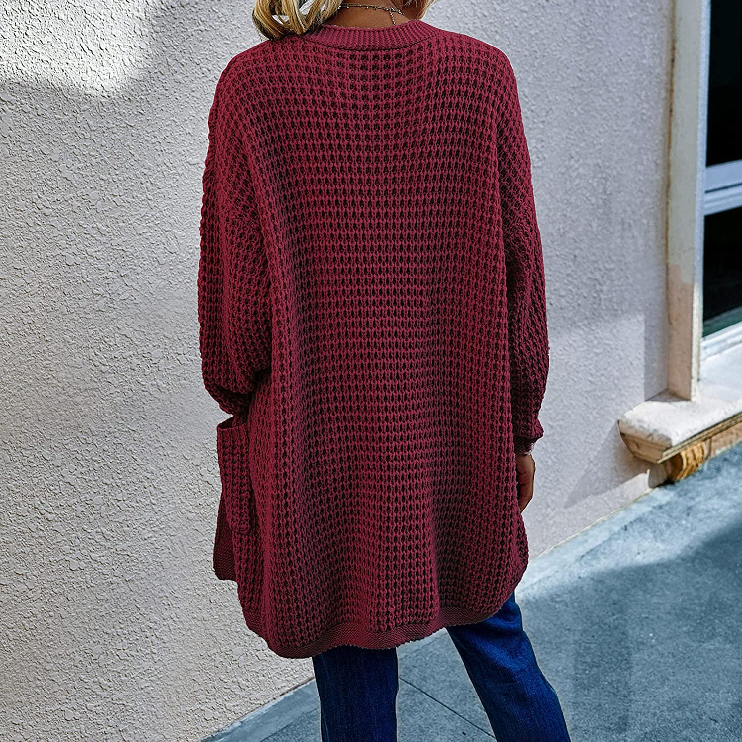 GBSELL Women's Open Front Long Sleeve Knit Chunky Cardigan Batwing Sweater with Pockets Draped Sweaters Outwear Cardigans (S, Wine)