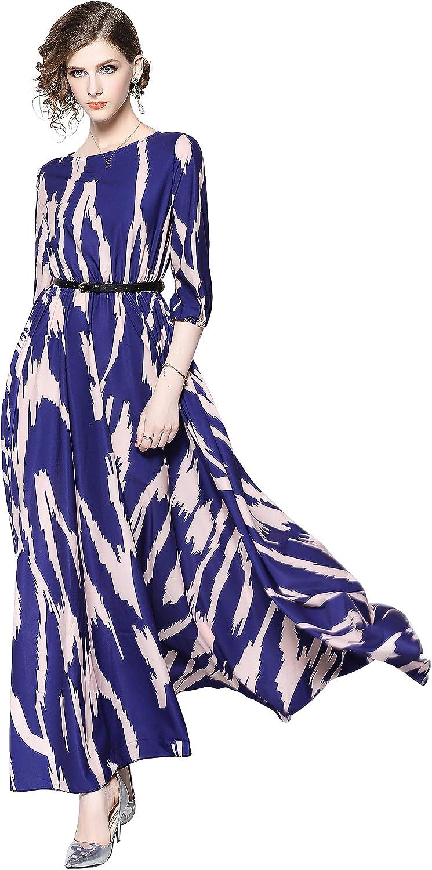 Women's Summer V or Round Neck Elegant Ruffled Floral Print Swing Maxi Flowy Beach Dress