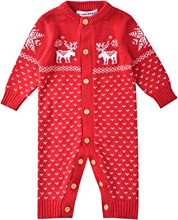 ZOEREA Unisex Neugeborenes Baby Strick Strampler Lange Ärmel Watte Weihnachten Pullover mit Elch Hirsche Schneeflocke