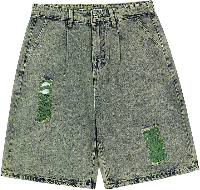 Katenyl Men's Retro Streetwear Ripped Denim shop Hip Loose Hop Shorts Max 80% OFF