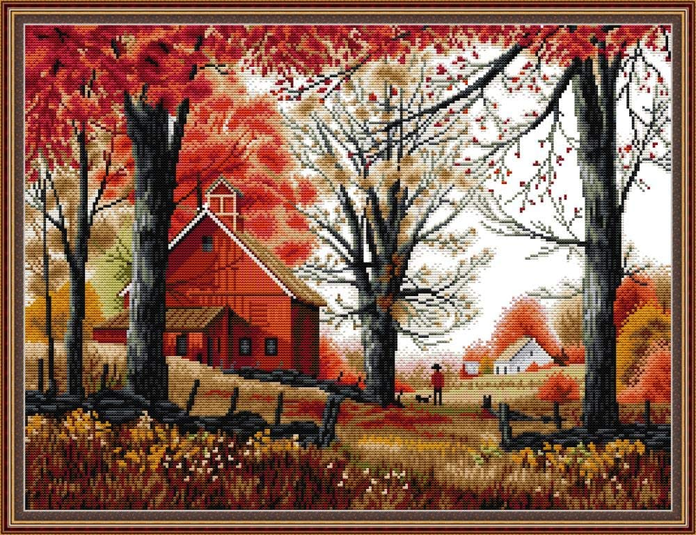 Maydear Cross Stitch Kits Stamped Full Range of Embroidery Starter Kits for Beginners DIY 14CT 2 Strands - Deep Autumn 20.8×16.5 inch (14CT)