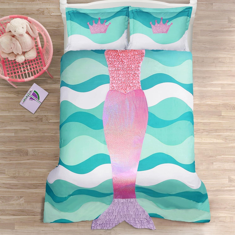 Lush Decor Décor Mermaid Ruffle 2Piece Comforter Set, Twin, Pink Purple