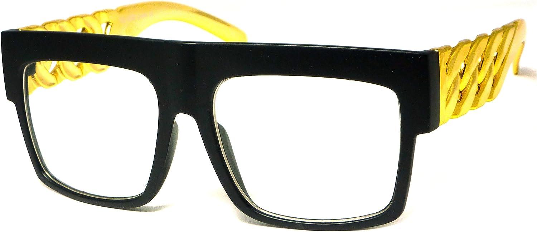 NERD Gold Metal Chain Hip Hop Frame Clear Lens Eye Glasses BLACK