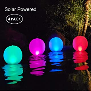 Esuper Floating Ball Pool Light Solar Powered 4 Pack, 14 Inch Inflatable Hangable IP68 Waterproof Rechargeable 4 Color Changing Led Glow Globe Pool Night Lamp for Garden, Backyard,Pond, Party Decor