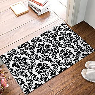 FAMILYDECOR Black and White Damask Fabric Door Mat Rug Indoor/Outdoor/Front Door/Shower Bathroom Doormat, Non-Slip Doormats, 18-Inch by 30-Inch