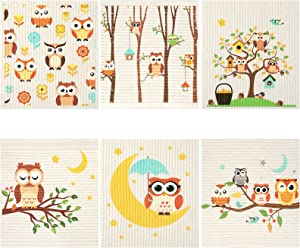 Set of 6 Owls Swedish Dishcloths High Absorbent and Quick Drying Cleaning Cloth No Odor Reusable Cleaning Wipes for Kitchen, Hand, Counter