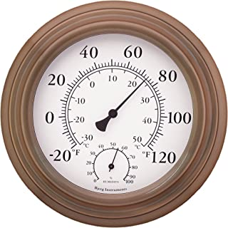 """Bjerg Instruments 8"""" Antique Copper Finish Decorative Indoor/Outdoor Thermometer and Hygrometer"""