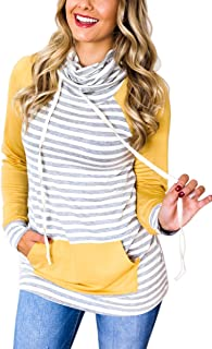 ECOWISH Womens Striped Printed Cowl Neck Patchwork Pullover Hoodies Drawstring Sweater Casual Sweatshirts Tops with Pockets