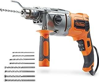 VonHaus 10 Amp VSR 1/2 Inch Pistol Grip Hammer Drill Kit, 8 Drill Bit Set, Metal Depth Gauge, Lock-On Switch, Power Trigger and Speed Adjustment