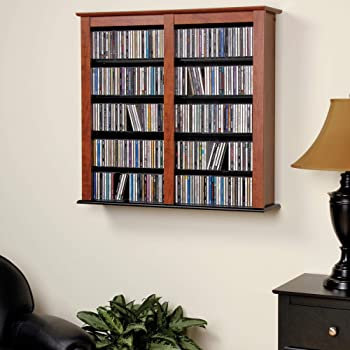 Prepac Double Wall Mounted Storage Cabinet, Cherry and Black