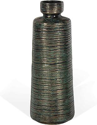 Gold Benzara BM180606 Round Ceramic Vase with Combed Design