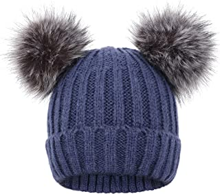 Arctic Paw Womens Winter Cable Knit Faux Fur Pompom Ears Beanie