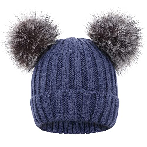 82773dfc4ef Arctic Paw Cable Knit Beanie with Faux Fur Pompom Ears