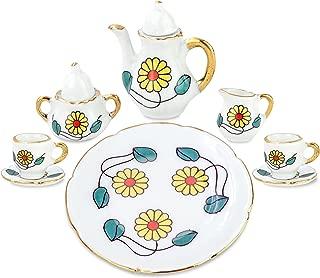 zamonji 10pc Miniature Tea Set with Teapot Cups Plate Saucers Cream & Sugar w/ Lid