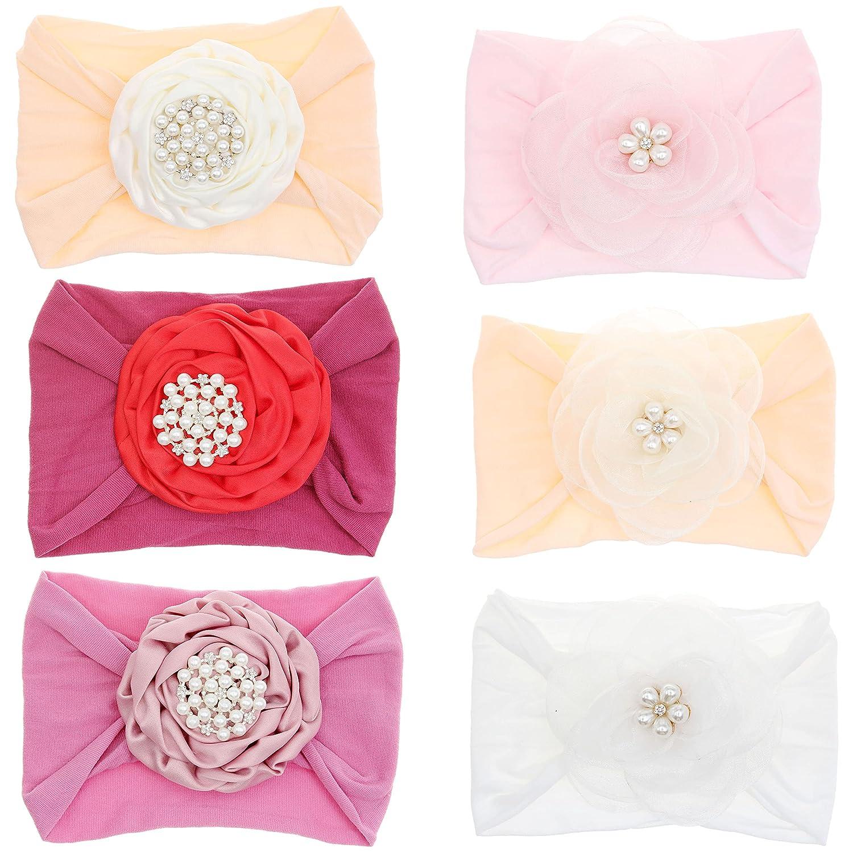 6PCS Baby Girls Fees free!! Nylon Headbands Bows price for Hair Elastics Hairbands