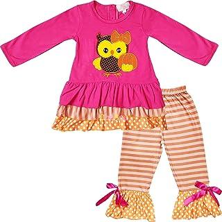 AMK Baby Toddler Little Girls Halloween Thanksgiving Turkey Outfit Set - Tunic Top Leggings/Pants Set