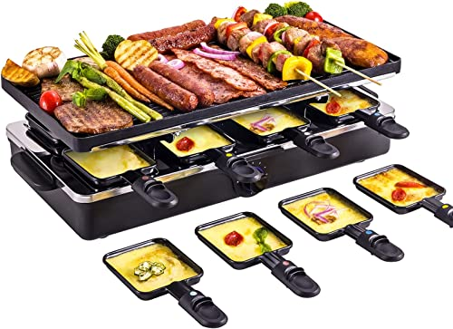 2021 Electric Griddle Grill Indoor Korean BBQ Raclette Table Grill Smokeless Nonstick Reversible 2-In-1 Outdoor Dishwasher Safe with Cheese outlet sale 8 Paddles 8 Spatulas popular 1400W for 8 Person sale