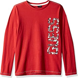 Guess Boys' Big Long Sleeve Sideways Graphic Logo T-Shirt, Flame red a