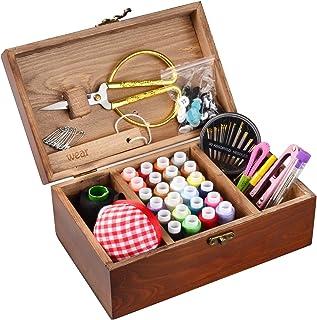 ISOTO - Cesta de coser de madera con kit de costura,