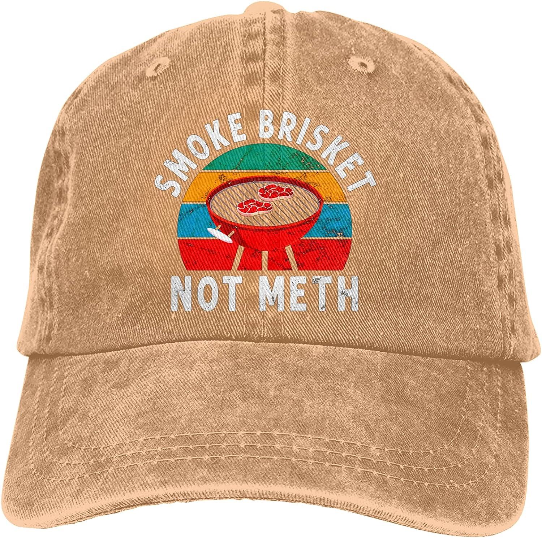 Smoke Brisket Not Meth Vintage Baseball Caps Unisex Dad Hats Trucker Hat Fishing Outdoor Sport Cap for Mens Womens Adjustable
