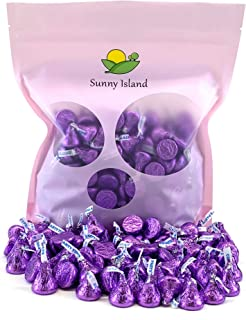 Sunny Island Bulk - Hershey's Kisses Milk Chocolate Party Candy, Purple Foil 2 Pounds