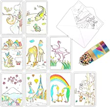 Blank Note Cards with Envelopes, 36 Coloring Greeting Cards for Kids and Adults to DIY Personalized Birthday Cards, Thank You Cards, Bulk Box Set, 4 x 6 Inches, Postcard Style, Funtopia