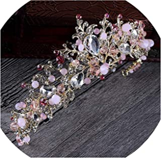 Fashion Magnificent Gold Silver Crystal Bridal Tiaras with Flower Wedding Crown for Bride,Pink