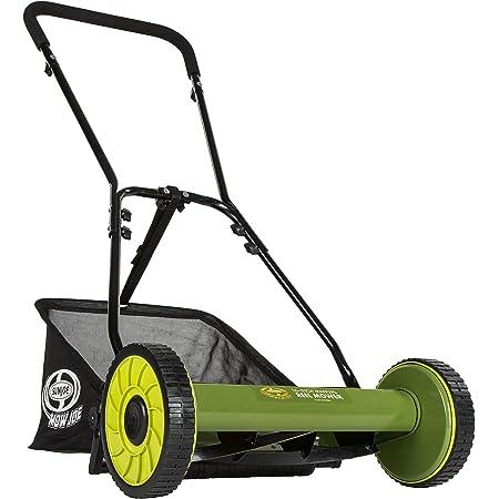 """Snow Joe MJ500M 16 inch Manual Reel Mower w/Grass Catcher, 24.5"""" L x 16"""" W x 49.2"""" H, Green/Black"""