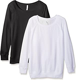 Women Plus Size 2 Pack T Shirts Easy Tag Comfort Crew Neck Slouchy Cotton Blend Curvy Pullover Sweatshirts