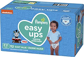 Pampers Easy Ups Diapers Size 4 (2T-3T), Pull On Disposable Training Diaper for Boys, GIANT PACK, 112 Count