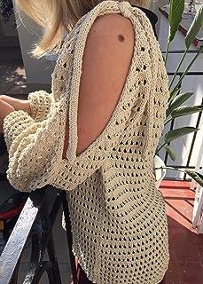 Jersey suelto de verano, color beige, para chica o mujer, talla M-L