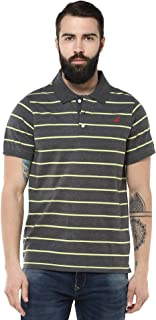 Men's Polo Collar Half Sleeve Striped T Shirts for Men