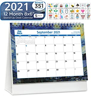 Zoe Deco 8x6 Inch Standing Desk Calendar + Stickers, 2021 Calendar Year Monthly Tent Style Flip Calendar, Impressionists, ...