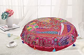 DK Homewares Round Traditional Bohemian Floor Pillow Boho Pink 22 Inch Patchwork Living Room Pouf Ottoman Home Decor Embroidered Vintage Cotton Indian Floor Cushion Adult 22x22