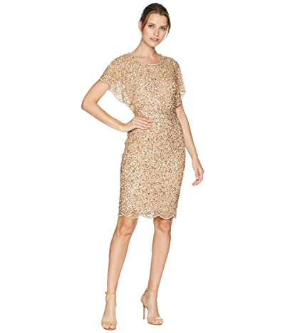 Adrianna Papell Flutter Sleeve Beaded Cocktail Dress with Pearl Edge Detail (Champagne/Gold) Women